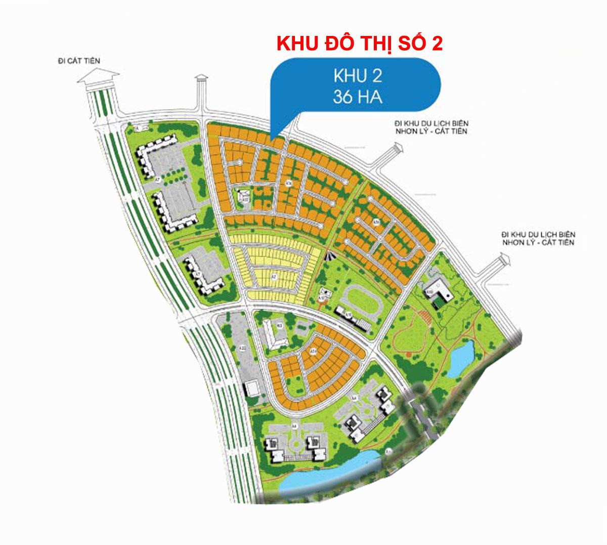 Mặt bằng Phân lô Khu 2 Dự án Khu đô thị Sinh thái Nhơn Hội